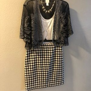 Ann Taylor Loft wool houndstooth size 6 skirt
